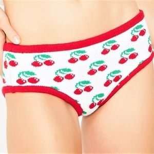 M KNITTY KITTY white red cherry panties knickers